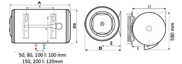 Електрически бойлер Atlantic O´Pro+ 200 литра за хоризонтален монтаж